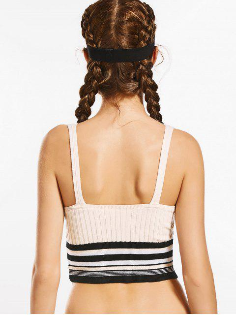 women Knit Ribbed Low Cut Striped Sporty Top - OFF-WHITE M Mobile