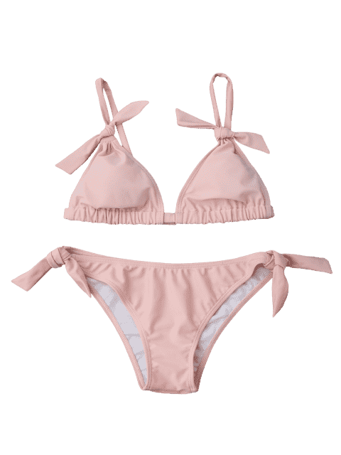 outfit Tie Knot Padded Bikini Set - PINK L Mobile