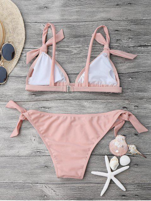 outfits Tie Knot Padded Bikini Set - PINK M Mobile