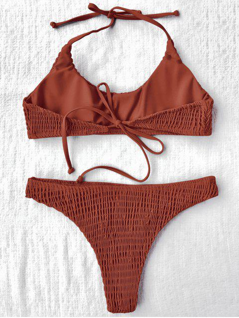 women Padded Smocked Bralette Bikini Set - JACINTH M Mobile