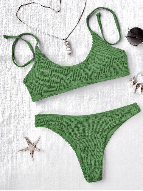 sale Padded Smocked Bralette Bikini Set - GREEN L Mobile