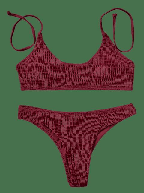 fancy Padded Smocked Bralette Bikini Set - RED M Mobile