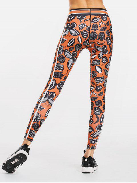 ladies 3D Print Slimming Sporty Leggings - DARKSALMON XL Mobile