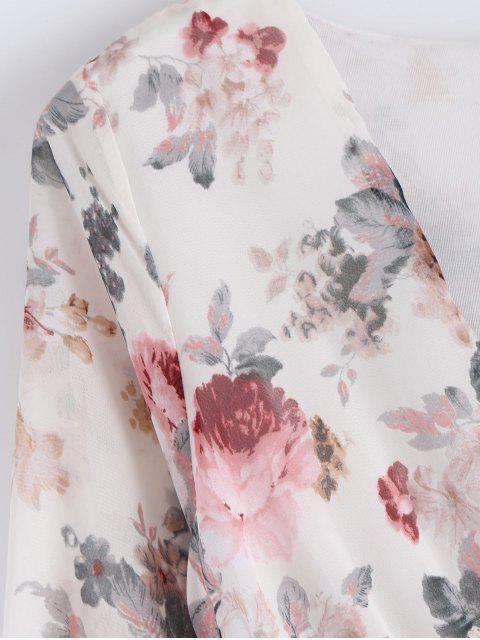 Robe Maxi Surplis à motif florale Avec Ceinture - Blanc S Mobile