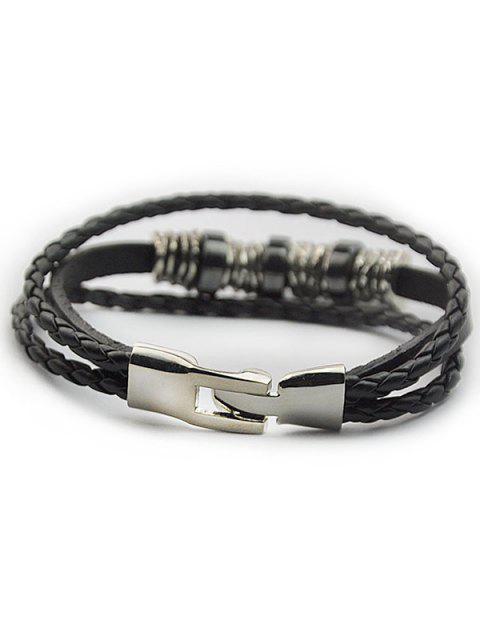 ladies Braided Faux Leather Wrap Bracelet - BLACK  Mobile