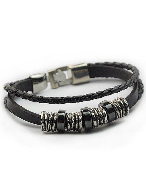 ladies Braided Faux Leather Wrap Bracelet - BLACK  Mobile