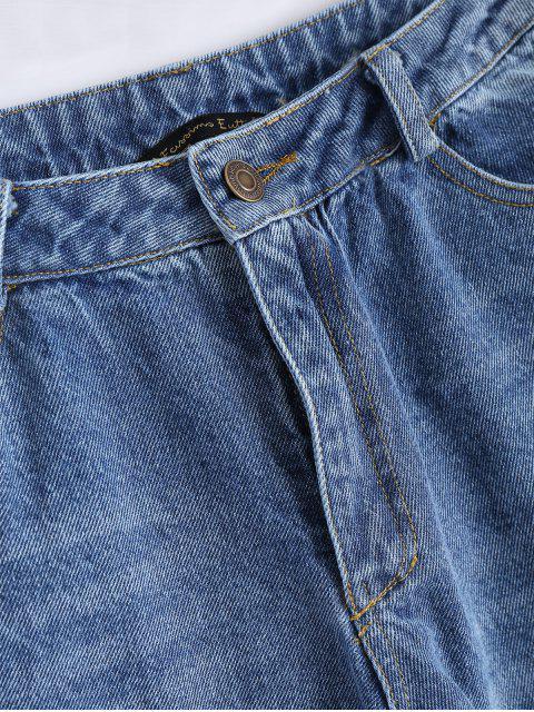 trendy Distressed Lace Up Cutoffs Bootcut Jeans - DENIM BLUE L Mobile