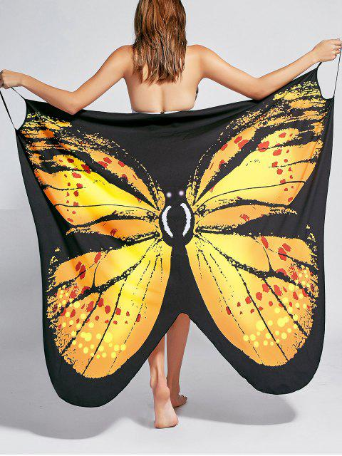 trendy Butterfly Print Beach Wrap Cover Up Dress - YELLOW M Mobile