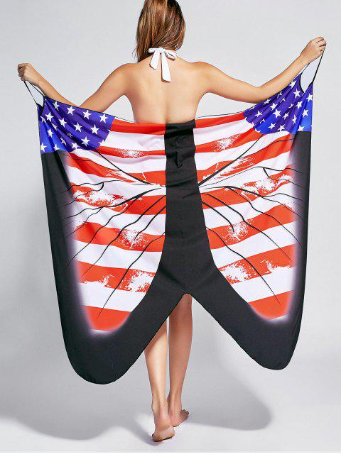 lady Butterfly Print Beach Wrap Cover Up Dress - US FLAG M Mobile