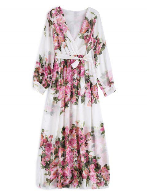 affordable Floral Belted Maxi Surplice Dress - WHITE M Mobile