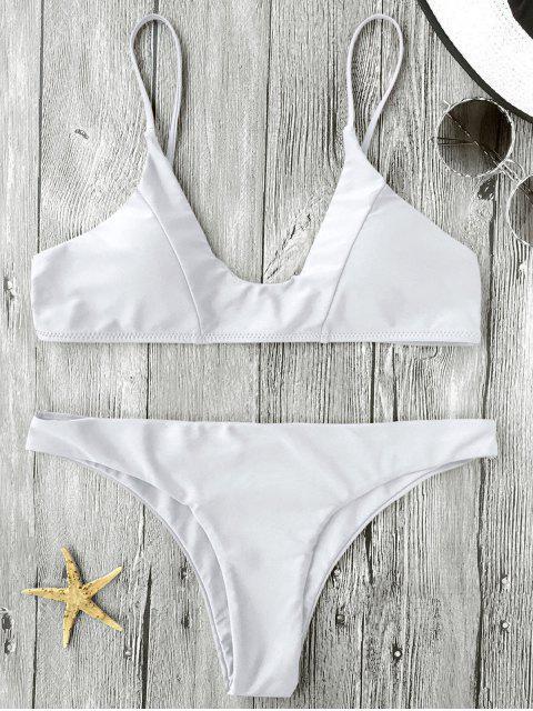 Traje de Bikini de Tirante Fino con Relleno - Blanco M Mobile