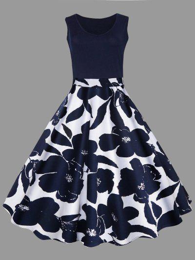 Plus Size Floral Printed Midi Vintage Flare Dress - Cadetblue 2xl