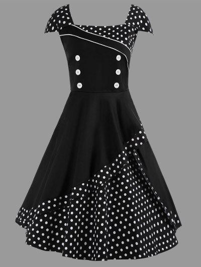 Image of A Line Polka Dot Plus Size Vintage Dress