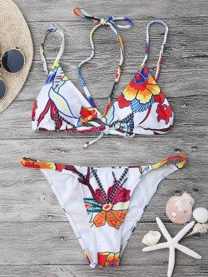 Juego De Bikini Estampado Strappy String - Blanco M