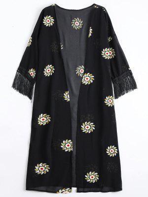 Blusa De Palha Com Fraldas Remendada Floral - Preto