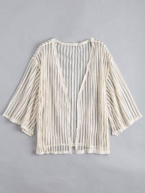 Blusa Listrada Semi-transparente Sem Mangas - Damasco