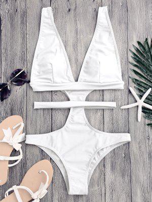 Cut Out Plunging Neck Bandage Swimwear - White S