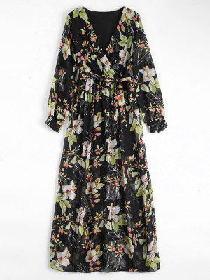 Vestido Maxi De Flores Con Escote Cruzado Con Cinturón - Negro 2xl