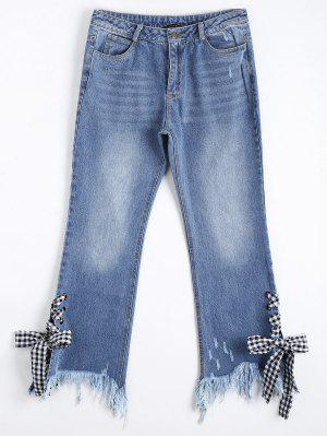 Distressed Lace Up Cutoffs Bootcut Jeans