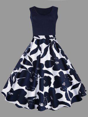 Plus Size Floral Printed Midi Vintage Flare Dress
