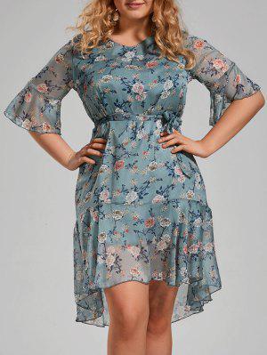 Plus Size Floral Printed Organza Ruffle Dress
