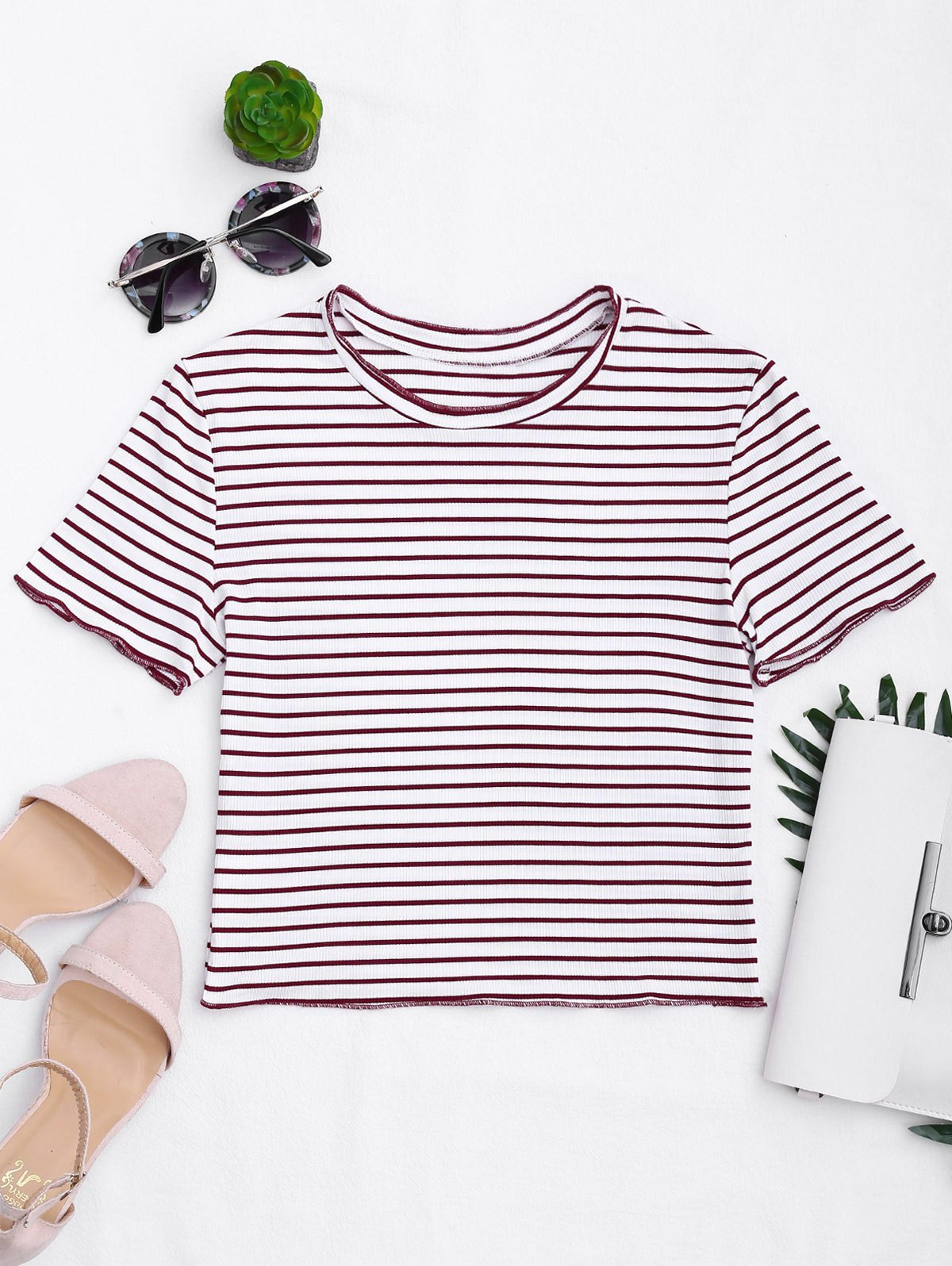 Knitted Ribbed Stripes Ruffles Top 217514101