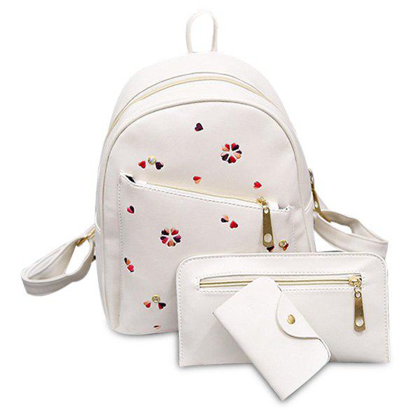 Heart Embroidered PU Leather Backpack Set