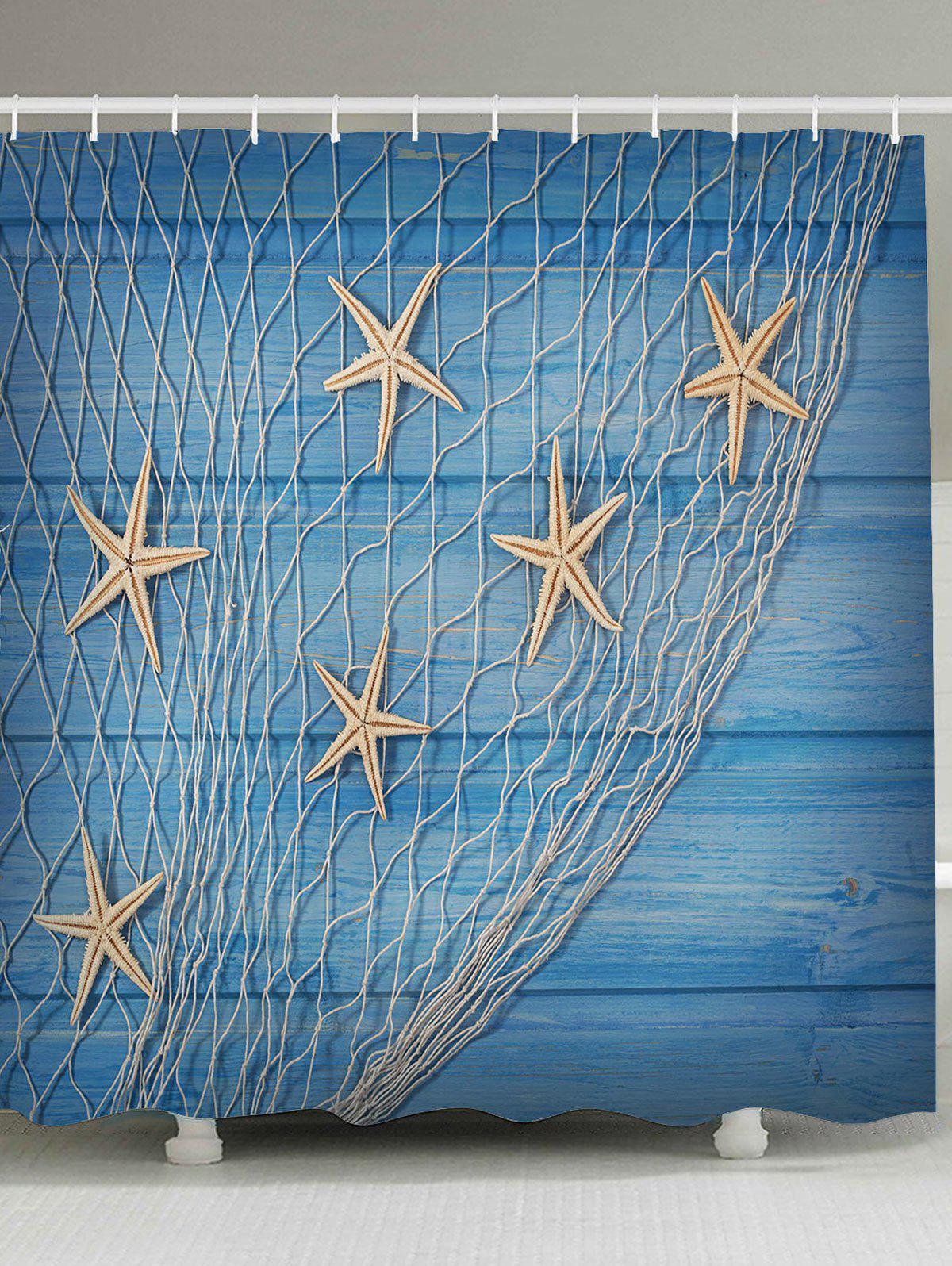 Rideau de douche de grain de bois nautique
