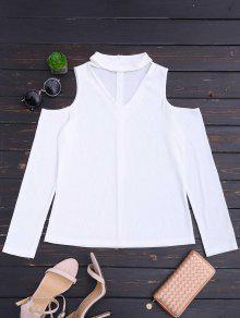 Cold Shoulder Cut Out Ribbed Knitted Tee - White S