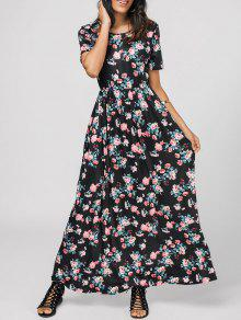 Round Collar Floral Print Maxi Dress - Floral Xl