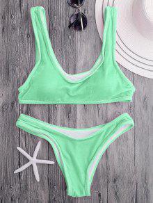 Conjunto De Bikini De Cucharada De Terciopelo Bralette - Verde Manzana M