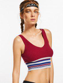 Knit Ribbed Plunging Neck Striped Sporty Top - Burgundy M