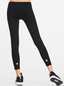 Cut Out Bowknot High Waisted Sporty Leggings - Black S