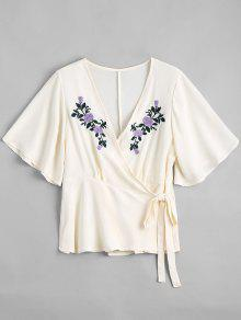 Floral Embroidered Ruffles Wrap Top - Off-white L