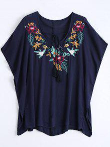 Floral Pacthed Butterfly Sleeve Blouse - Purplish Blue