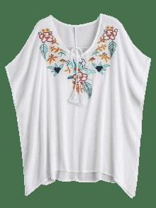 Blanco Pacthed Sleeve Butterfly Floral Blusa wxqIpYY7