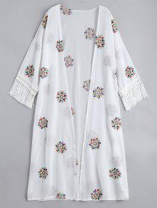 Floral Patched Fringed Longline Blouse - White