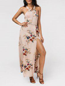 Floral Print High Slit Backless Maxi Dress - Light Khaki M