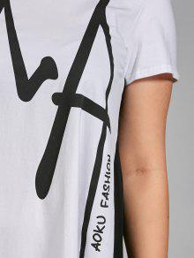 0104b07a8e4 30% OFF  2019 Plus Size Letter Graphic Smock T-shirt Dress In WHITE ...