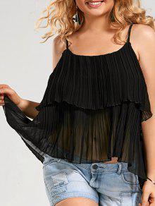 Camisola Plisada De La Falda De La Gasa - Negro 5xl