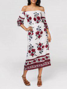 Slit Floral Print Off The Shoulder Dress - Floral L