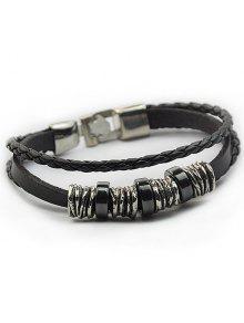 Braided Faux Leather Wrap Bracelet - Black