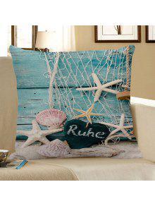 الصيد صافي نجم البحر الخشب الحبوب القلب طباعة وسادة القضية - الضوء الأزرق 45*45cm
