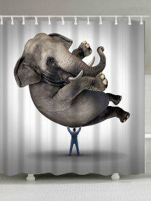 الفيل الحيوان البوليستر النسيج دش الستار - رمادي W71inch*l71inch