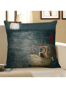 المراكب الشراعية القمر البحر طباعة الزخرفية وسادة القضية - ازرق رمادي 45 * 45cm