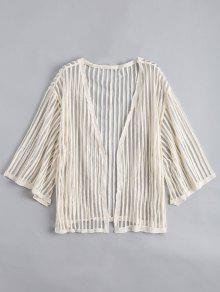 Blusa A Rayas Semi-transparente Abierta - Albaricoque