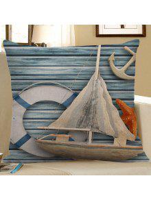 المراكب الشراعية نجم البحر مرساة الخشب الحبوب طباعة وسادة القضية - الضوء الأزرق 45 * 45cm