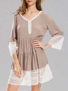 الدانتيل لوحة طويلة الأكمام فستان سموك - M