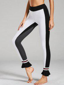 Ruffles Hem Color Block Active Leggings - White L