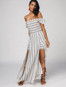 9d237b3c8e22 26% OFF  2019 Off The Shoulder Slit Striped Maxi Dress In STRIPE